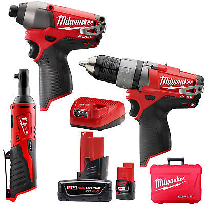 Milwaukee 2597-22 M12 FUEL Hammer Drill + Impact + Ratchet Combo 3pc Kit New