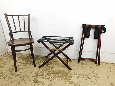 Vintage Pair His Hers Ma Pa Folding Luggage Racks Mahogany Finish