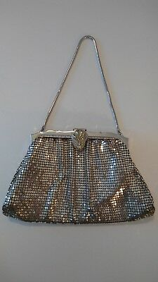 Vintage Whiting and Davis silver mesh evening cocktail purse Beautiful !!!
