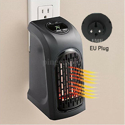 Portable Wall-Outlet Electric Heater Fan Handy Air Warmer Silent 240V 350W UK