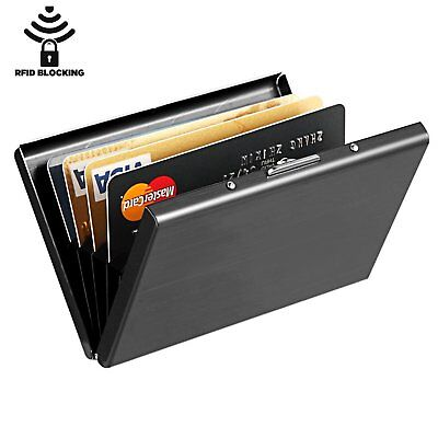 Minimalist Metal Slim Wallet RFID BLOCKING Money Clip Credit Card Holder Black