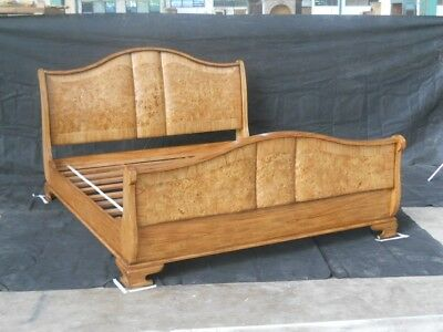 """The Best 4' 6"""" Double Sleigh Bed Burr Walnut Range Wooden Antique Reproduction *"""