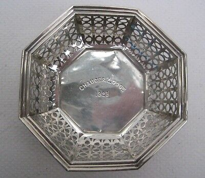 Solid Silver Small Pierced Dish Birm. 1928 Mappin & Webb Inscribed Chaucer Lodge