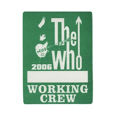 The Who authentic 2006 Endless Wire tour satin cloth Backstage Pass band crew
