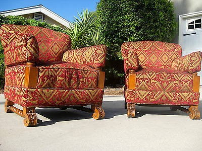 Fantastic Pair Of Early 1900S Upholstered Arm Chairs