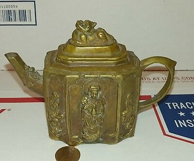 Antique Brass Chinese Teapot Miniature Foo Dog Signed