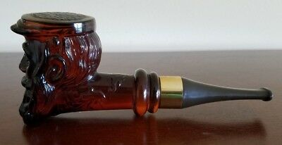 """Vintage AVON Bearded Man Pipe Decanter """"Deep Woods After Shave"""" FULL 3 Fl Oz"""