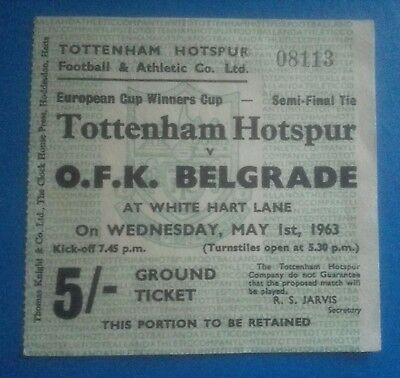 Tottenham Ticket Cup Winners Cup Semi Final 1963 Tottenham V Ofk  Belgrade