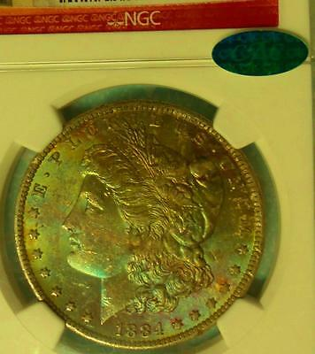 1884 O NGC MS 63 CAC Morgan Stacks Red Label Silver Dollar, Color Tone Pink Blue