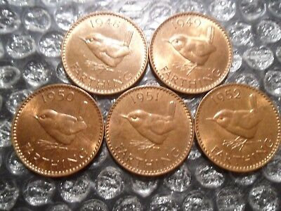 Small collection of George VI farthings - 5 coins.