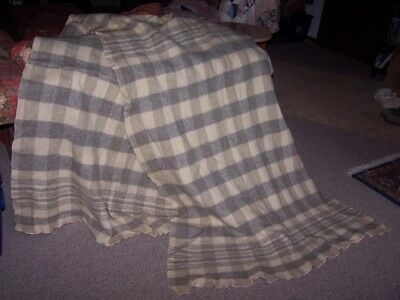 Antique Heavy Wool Buggy Lap Blanket 42 x 116 Vintage Heather Plaid Craft Fabric