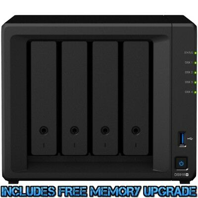 Synology DiskStation DS918+ 4tb NAS Server 4x1000gb Western Digital Red Drives