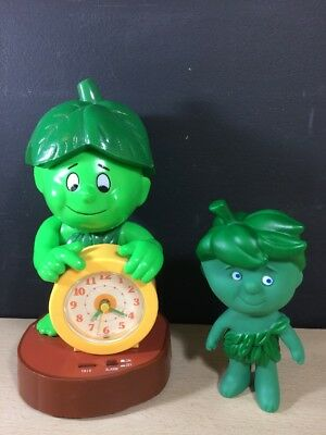 Rare Vintage 1985 Jolly Green Giant Little Sprout Talking Alarm Clock Works Lot