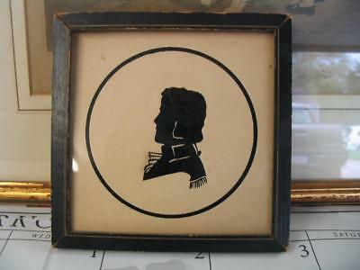 Vintage Framed Paper Cut-Out Silhouette of a Man in Uniform