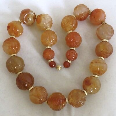 """16"""" Chinese Carved Orange Carnelian Agate 20.5mm Bead Necklace w/ 14K Gold"""