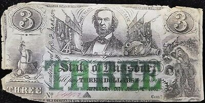 1862 Jefferson City $3 Missouri Confederate Note. Scarce & popular! No Reserve!