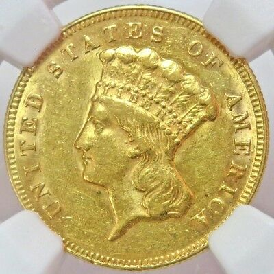 1874 Gold United States $3 Indian Princess Head Coin Ngc About Uncirculated 58
