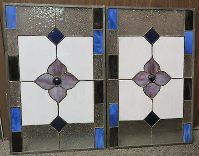 Multi-Color Leaded Stain Glass Windows (2) From Kitchen Blue Jewel Flower 23 x15