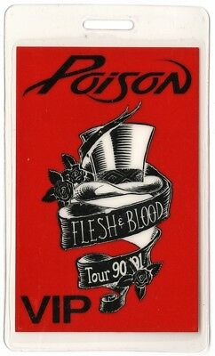 Poison authentic 1990 concert Laminated Backstage Pass Flesh and Blood Tour VIP