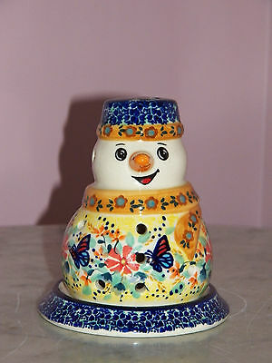 UNIKAT Polish Pottery Snowman Tea Light! Butterfly Summer Pattern!