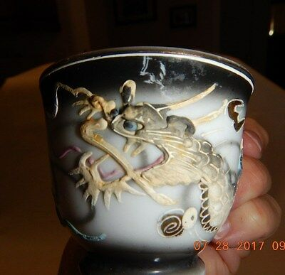VINTAGE JAPANESE MORIAGE DRAGONWARE TEACUP-hand painted w/raised dragon,blk/wht