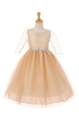 New Champagne Girls Dress 3/4 Sleeves Pageant Christmas Holidays Wedding 6416