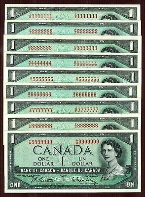 $1 1954 Bank of Canada 9 note set, serial #1111111 - 9999999 Solid S/N set