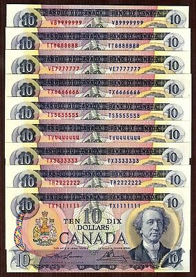 $10 1971 Bank of Canada 9 note set, serial #1111111 - 9999999 Solid S/N set