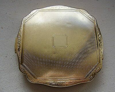 Vintage Melissa Ladies Powder Compact with Blank Cartouche and Scrollwork