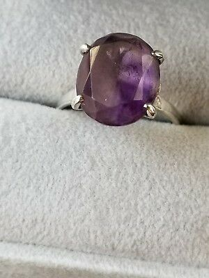 Vtg Estate Sterling Amethyst Ring Art Deco Antique Victorian  Sz 7.5