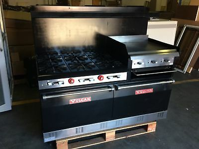 "60"" Vulcan Commercial LP Gas Range - 6 Burners + Double Ovens + Griddle"