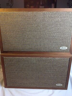 "Vintage ALLIED 3009A 10"" 3-Way RETRO Wood Pair STEREO SPEAKERS - RARE"