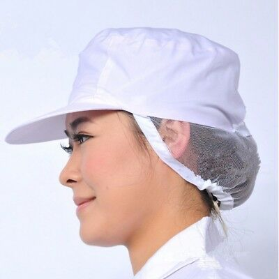 Unisex White Catering Hat Chef Bakers Bouffant Cap Food Hygiene Snood Work Cover