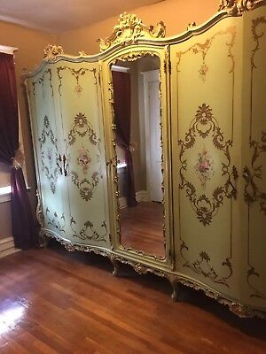 Antique Hand Painted Venetian Armoire. Could be French Provincial