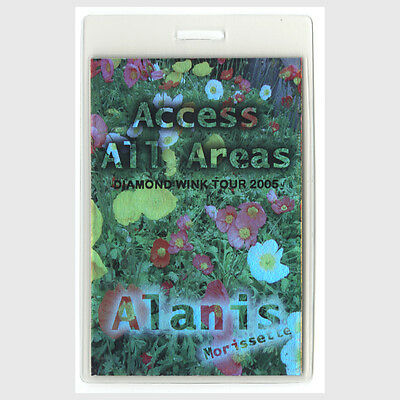 Alanis Morissette authentic 2005 Laminated Backstage Pass Diamond Wink Tour AA