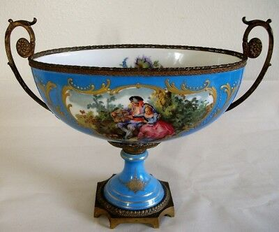 19th Century French Sevres Style Porcelain Watteau Bowl with Ormolu Mounts.