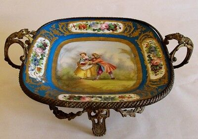 19th Century French Sevres Style Porcelain Watteau Plate Bowl with Ormolu Mounts