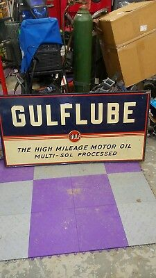 1948 Tin Gulflube Embossed Sign, 48 Ins By 24Ins By 1 In Thick Folded Over Metal