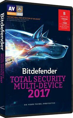 Bitdefender Total Security Multi-Device 2017 5 Devices 1 Year New Sealed