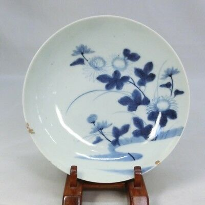 H450 Real Japanese OLD NABESHIMA blue-and-with porcelain plate w/flower painting