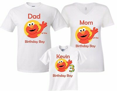 Elmo Birthday Boy Family Funny Cute Customized matching T-Shirts