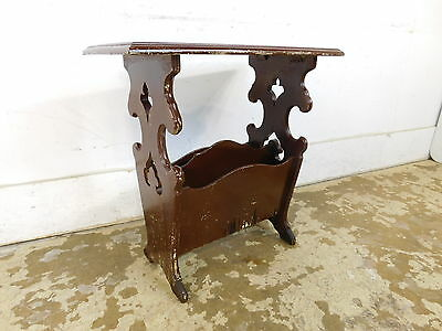 Antique Solid Wood Magazine Record Rack Gothic Jacobean Style