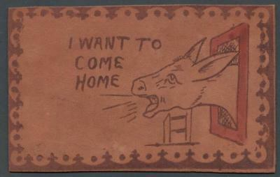 1906 VINTAGE LEATHER POSTCARD - POSTED to RHINELANDER, WIS - I WANT TO COME HOME