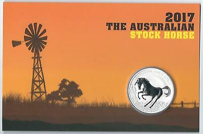 2017 $1 The Australian Stock Horse 1oz Silver Coin On Card