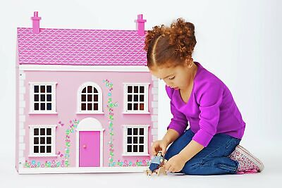 Chad Valley Wooden 3 Storey Dolls House Playset - Pink