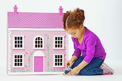 Chad Valley Wooden 3 Storey Dolls House - Pink -From the Argos Shop on ebay