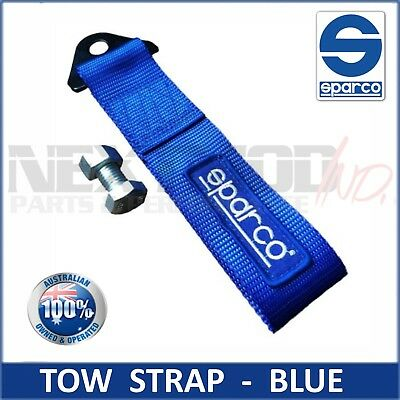 BLUE Sparco Tow Strap; JDM Track Racing Towing Hook Style Recovery Ribbon CAMS