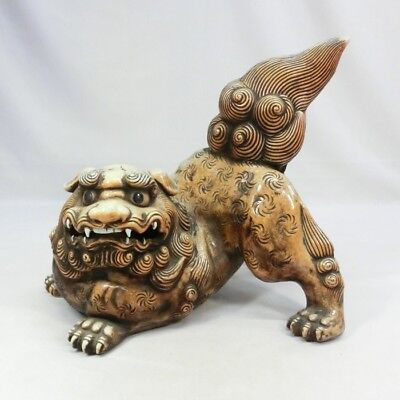 H656: REAL old Japanese HIRADO porcelain BIG foo dog statue with GREAT work.