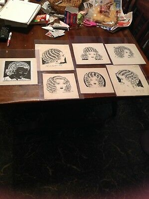 Vintage 7 Piece Art Deco Hair Style Demo Prints / Artist Signed / 1930S / Beauty