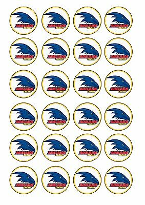 24 x 4cm ADELAIDE CROWS AFL Wafer Rice Paper Cupcake Toppers EDIBLE CAKE DECOR